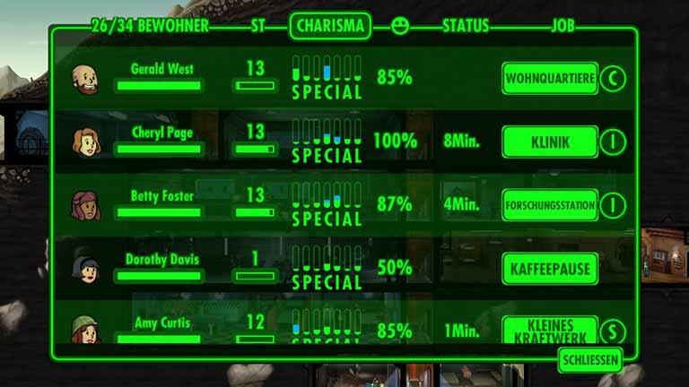 Fallout Shelter Charakterübersicht