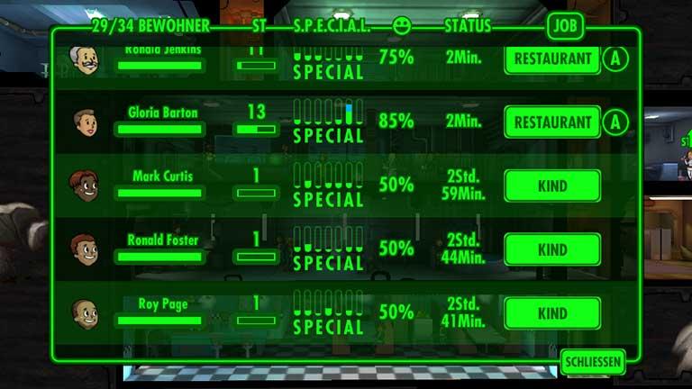 erwachsen werden in Fallout Shelter - Char-Übersicht