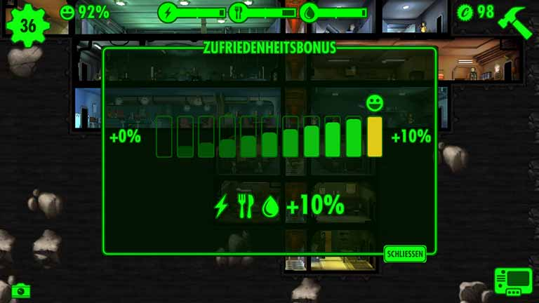 Bonus Fallout Shelter Zufriedenheit steigern