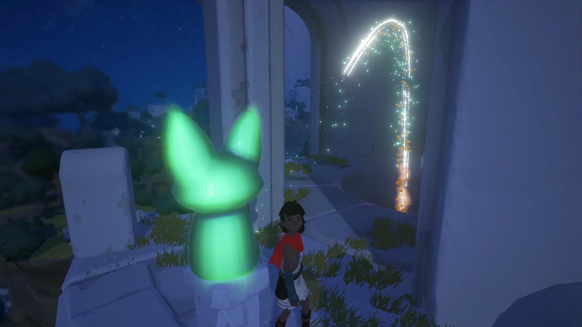 Screenshot einer leuchtenden Fuchs-Statue in RiME