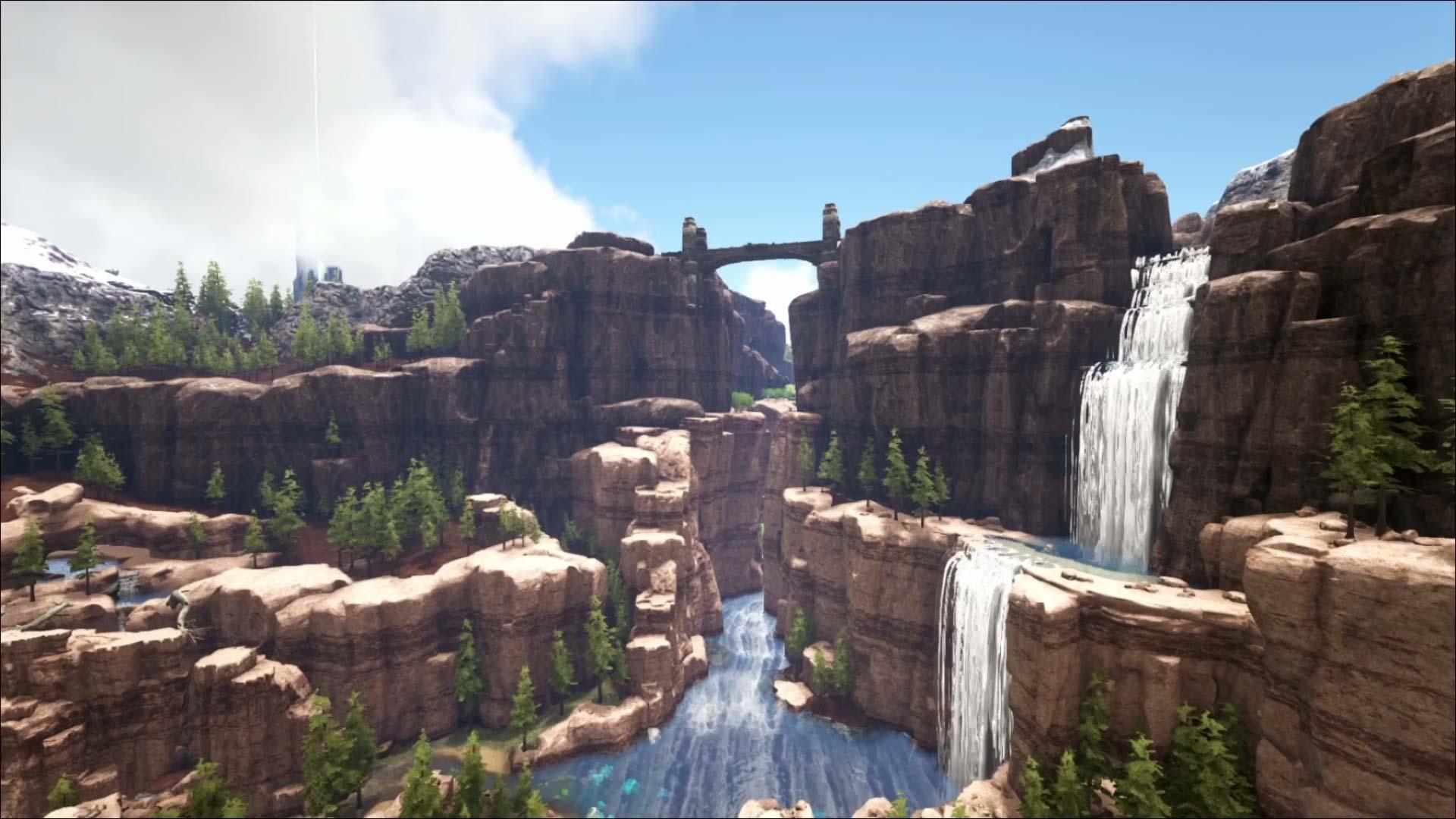 Screenshot ARK Ragnarok Felsen und Wasserfall